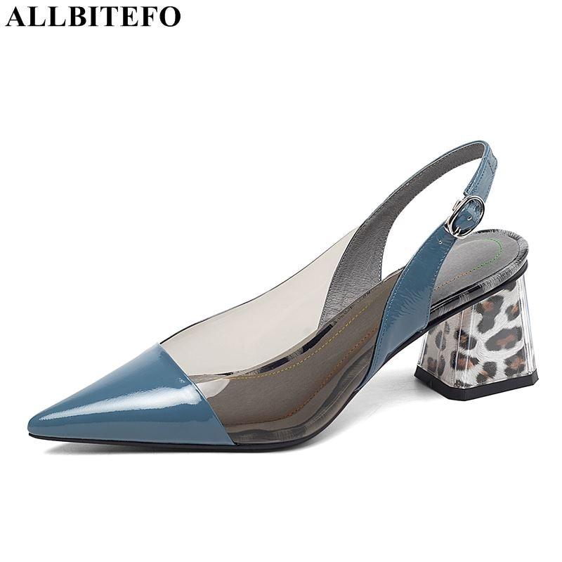 ALLBITEFO سميكة كعب كامل جلد طبيعي وأشار اصبع القدم عالية الكعب النساء الصنادل عالية الجودة حذاء نسائي ذو كعب عالٍ الصيف الصنادل-في كعب عالي من أحذية على  مجموعة 2