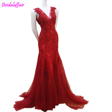 2018 women summer sex party dress red off the shoulder tulle mermaid  prom sleeveless backless evenning