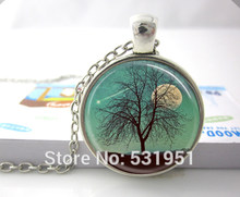 Wholesale Harvest Moon Necklace Tree Jewelry Full Moon, Shooting Star, Landscape Art Pendant - glass dome pendant necklace(China)