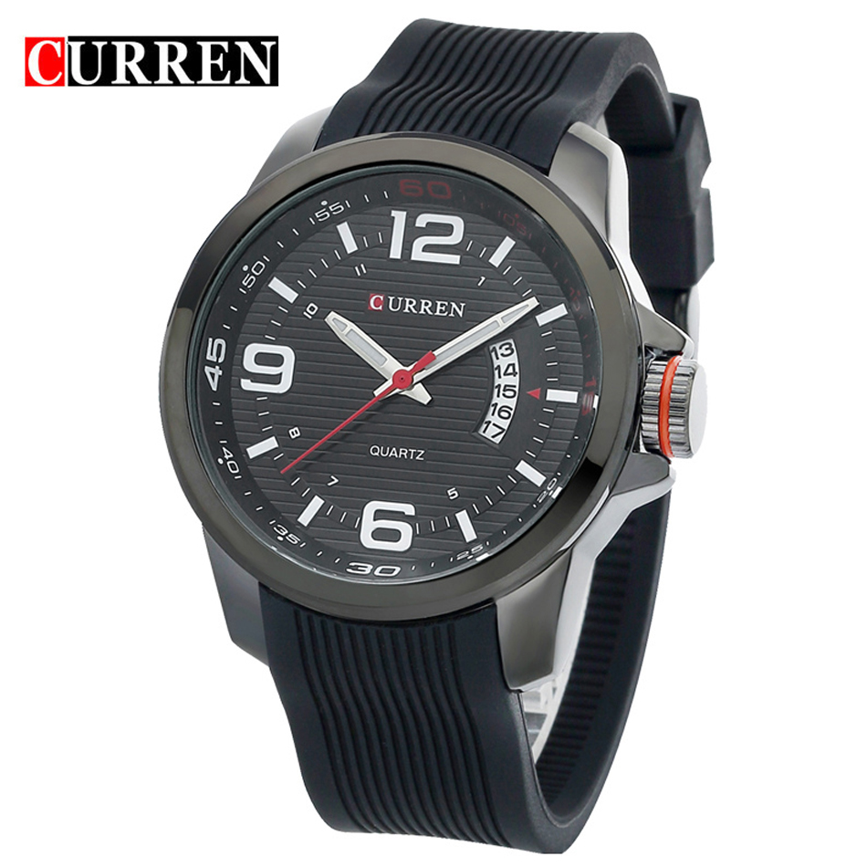 Famous CURREN Top Brand Men Sports Quartz Watch Luxury Casual Silicone Strap Wristwatches 3Bar Waterproof Relogio Masculino