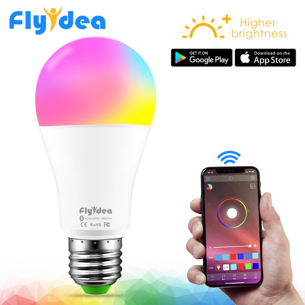 Smart LED Wireless Bluetooth Light Bulb E27 10W RGB Color Changing Lights Adjustable AC 85-265V APP Control IOS/Android Lampada