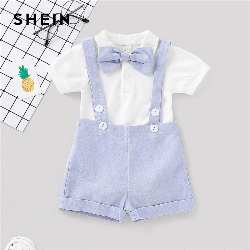 SHEIN Kiddie Boys Bow Tie Front Jumpsuit With Straps Shorts Outfits Child 2019 Summer Short Sleeve Button Preppy Two Piece Sets frill trim bow tie front pants