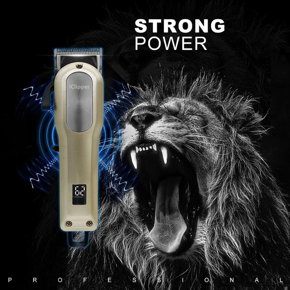 Iclipper StaggerToothBlade Professional Hair Clipper With Digital Display Electric Hair Trimmer Cutting Machine Y3