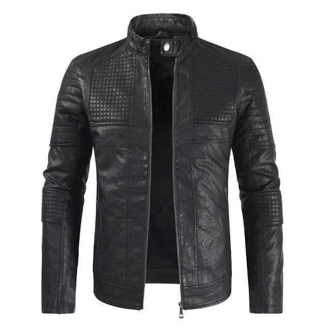 Mens Autumn Casual Leather Jacket