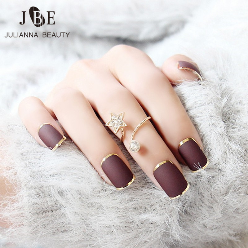 24pcs New Brown False Nails Metallic Gold Acrylic Nails Tips Press ...