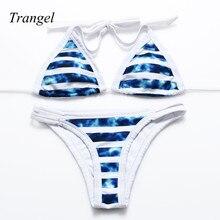 2016 Stripsky Women Halter Swimwear Paddedbiquinis feminino brasileiro Cut Out Brazilian Bikini Beachwear Striped Bathing Suit