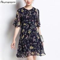Summer Chiffon Dress Women Clothing Peter Pan Collar Flare Half Sleeve A Line Dress High Quality