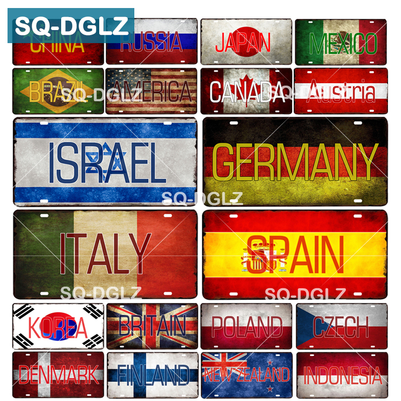 [SQ-DGLZ] Country Flag+Name License Plate Bar Wall Decoration Tin Sign Vintage Metal Sign Home Decor Painting Plaques Poster(China)