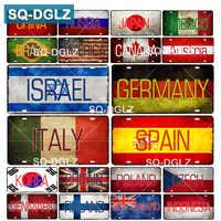 [SQ-DGLZ] drapeau de pays + nom plaque d'immatriculation Bar décoration murale étain signe Vintage en métal signe décor à la maison peinture Plaques affiche