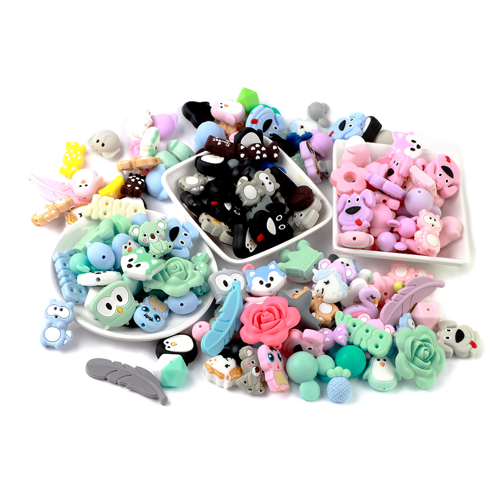 TYRY.HU 5pcs Food Grade Baby Teether Beads Mini Fox Penguin Raccoon Elephant Koala Pearl Silicone Beads Pacifier Clips Chain DIY