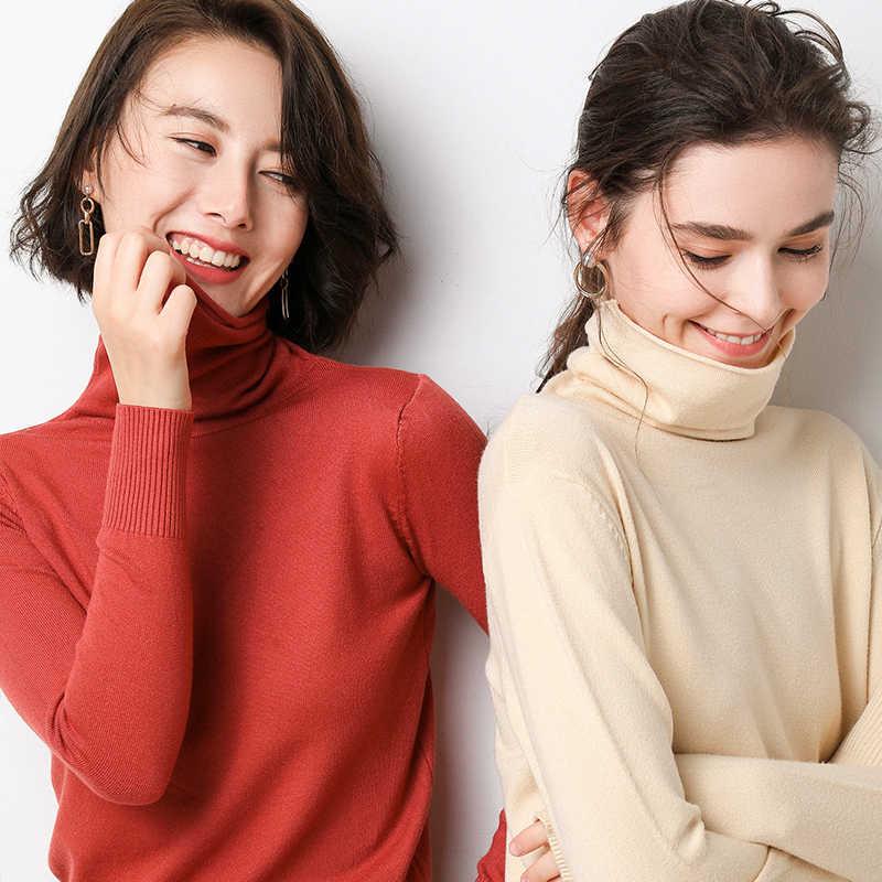 Mới mùa thu mùa đông áo len phụ nữ cao cổ áo len thời trang 2018 phụ nữ cashmere áo len phụ nữ đan áo thun tops