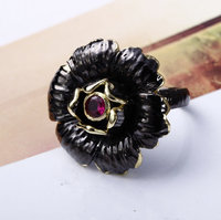 Love Accessories Black Flower Ring For Women New Arrival Black Gold Plated AAA Grade Cubic Zirconia