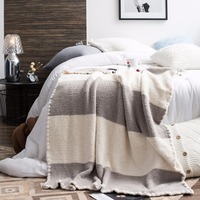 Simple European Grey Coffee Mosaic Polyester Fiber 1Pcs Bedding Soft Blanket For Bed Soft Fluffy Warm Coberto Blankets