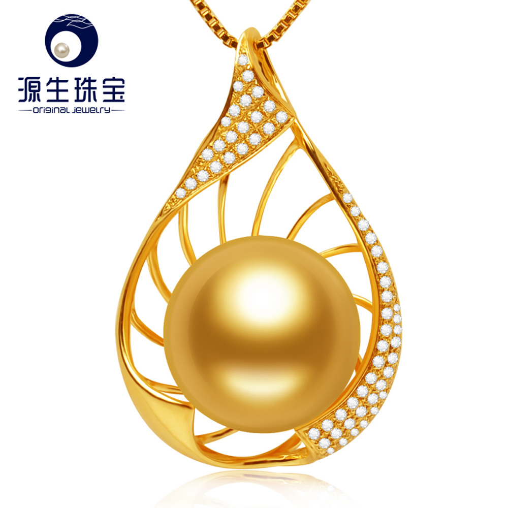Pearl Jewelry Natural 14-15mm South Sea Golden Pearl Pendant Necklace18K Gold Diamond Accented Pendant Jewelry S925 Necklace annular black pearl diamond pendant alloy necklace
