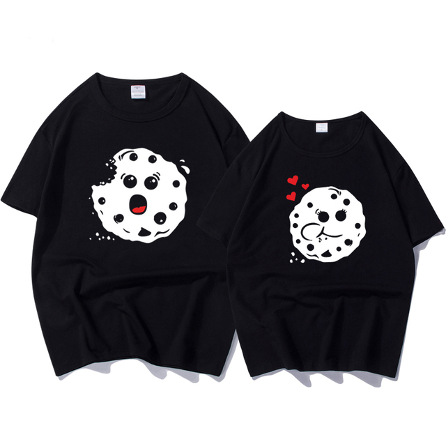 55af40fa0d1 New Arrival Couple T Shirt for Lovers Summer Short Sleeve Cotton T-shirt  Women Men Funny Female T-shirt Brand Tee Tops Plus Size