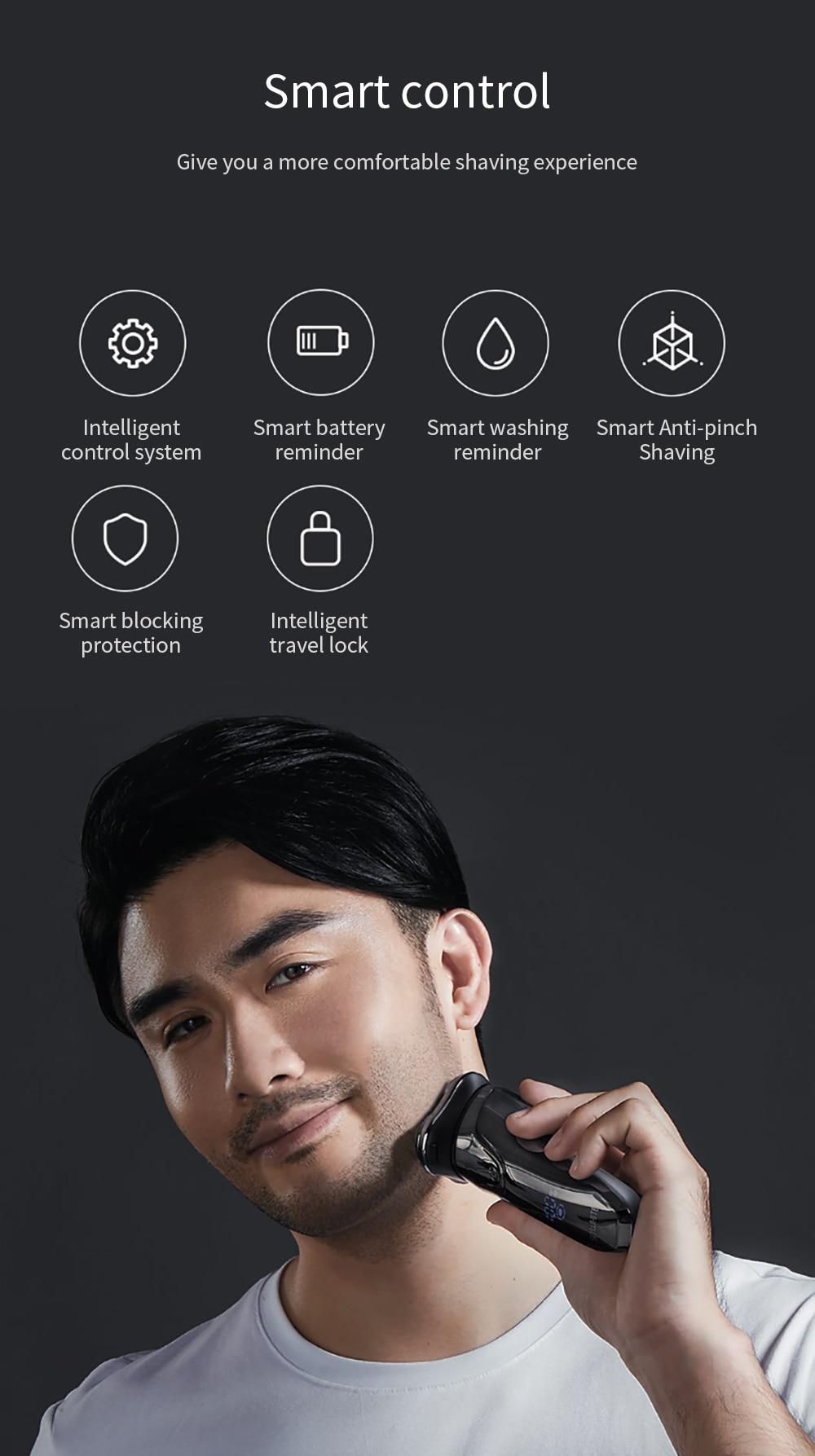SOOCAS SO WHITE ES3 USB Rechargeable Electric Shaver xiaomi razor 3 head Electric Razor for men beard trimmer shaving machine 2