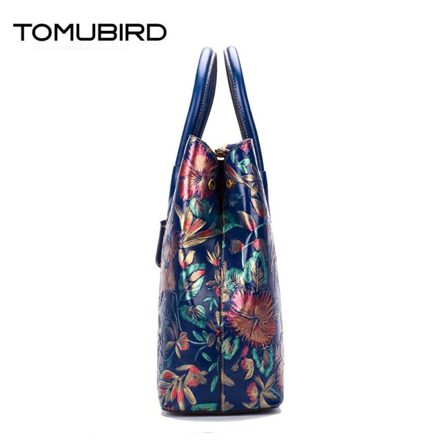 TOMUBIRD 2017 new superior cowhide leather Painting Genuine leather embossed women Leather Handbags Tote leather shoulder bag