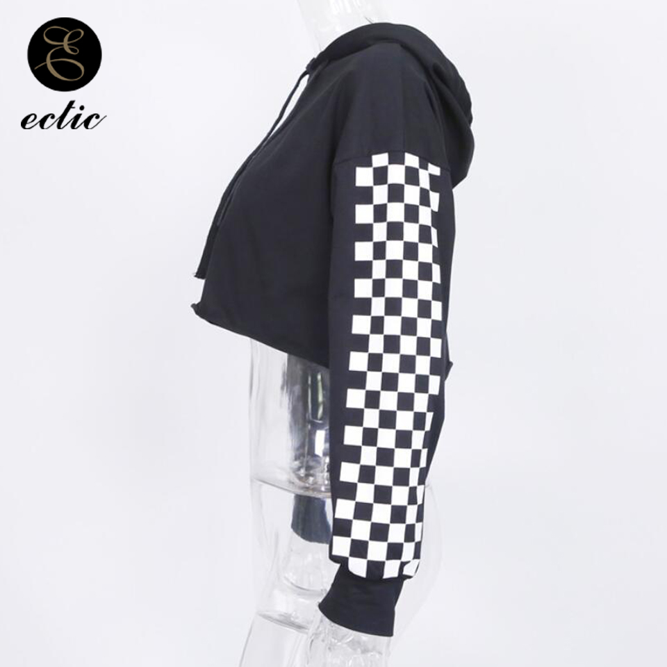 1c10706d447 Sweatshirt Crop Top Poleron Mujer 2019 Korean Oversized Hoodie Checkerboard  Patchwork Pullover Plaid Long Sleeve Hoodies Women-in Hoodies & Sweatshirts  from ...