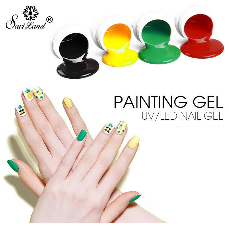 Saviland 1 pièces peinture Gel à ongles vernis 12 couleurs Art des ongles vernis Gel dessin 3D peint Gel UV Gel acrylique Semi-permanent