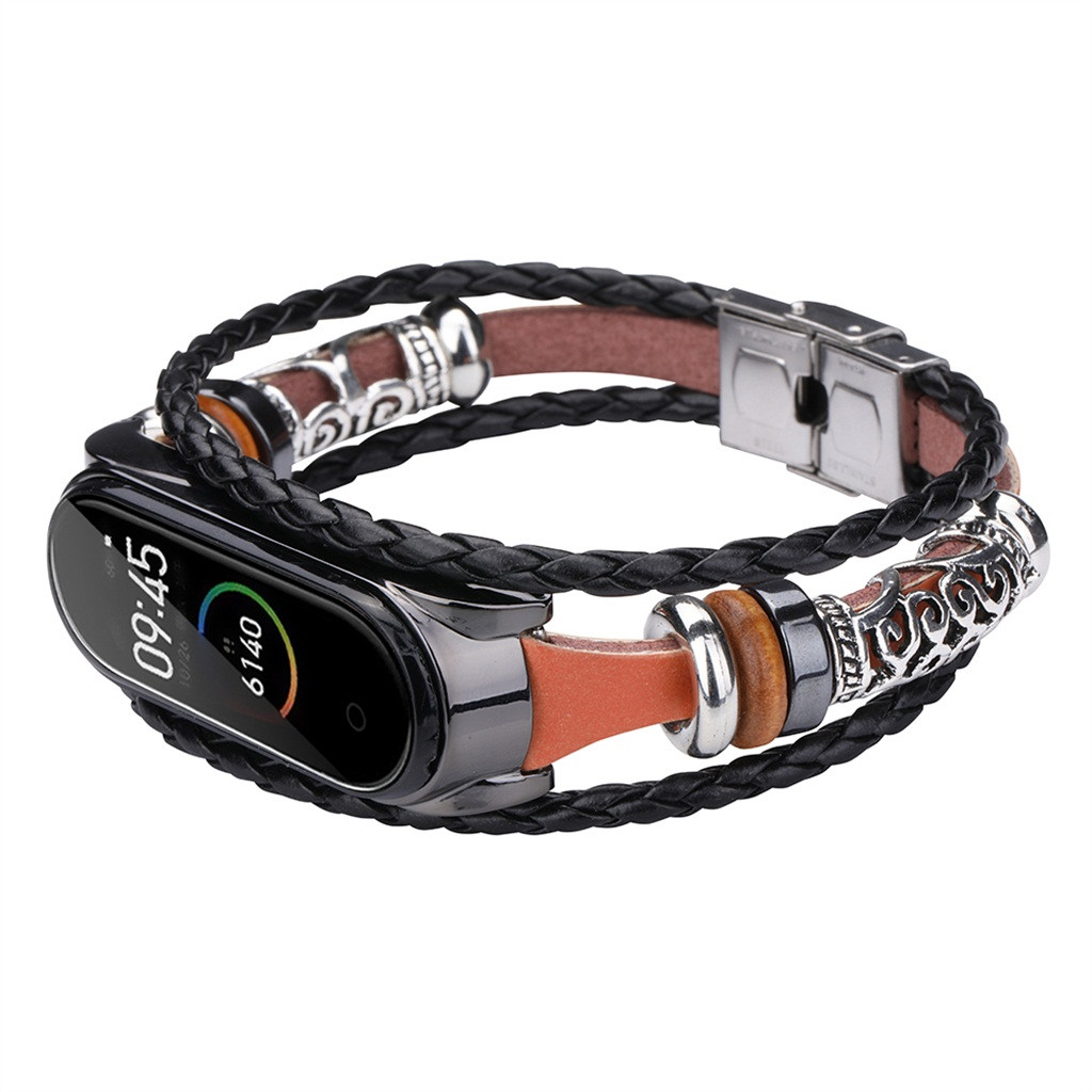 2020 For Xiaomi Mi Band 4 Replacement Leather Beading Bracelet Strap Weave Braided фитнес браслет смарт браслет#G20
