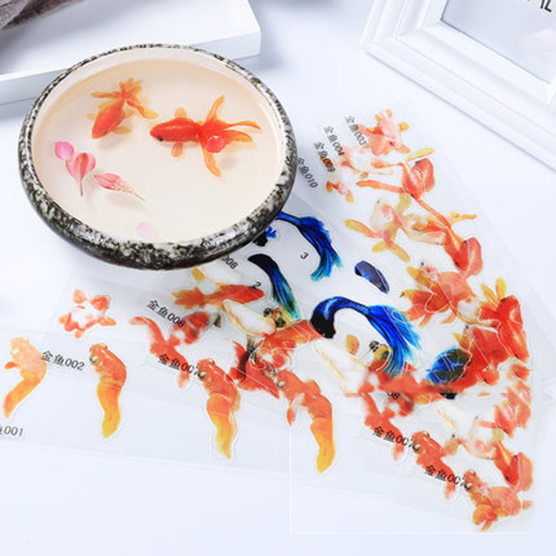5 Sheets Blue Gold Fish UV Resin Stickers FillDecorative Sticker Fit Silicone Molds DIYMicro Landscape Scrapbooking StickersGift