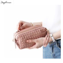 2016 New ladies Candy Colors woven day clutch mini hand bags design girls cross body shoulder
