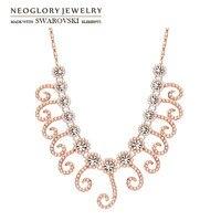 Neoglory österreich strass & simulierte perle anhänger lange halskette rose gold farbe eleganten stil für trendy lady geschenk