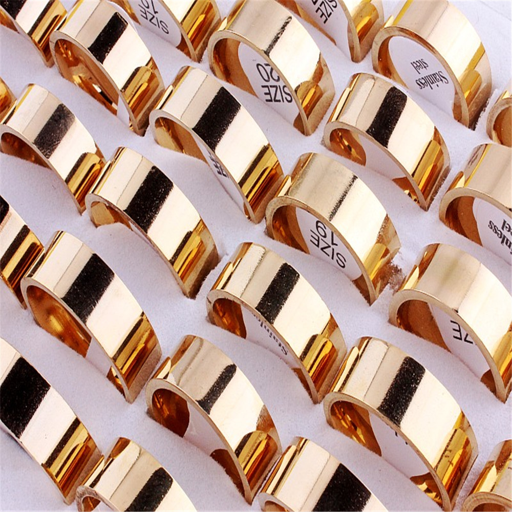 Wholesale Lots 25Pcs 8MM Smooth 316L Stainless Steel Men Women Gold Ring Band Wedding Engagement Gift Fashion Jewelry FREE