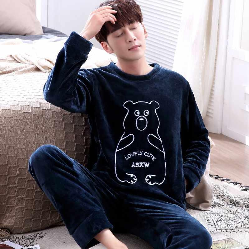 a7cc619229460 ... Для мужчин пижамы Зима О-образным вырезом Длинные рукава пижамы для Для  мужчин пижамы толстый ...