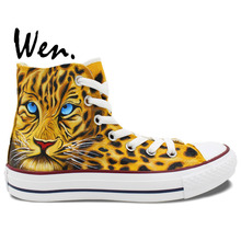 Wen Hand Painted Shoes Design Custom Leopard Cheetah Men Women's Canvas Sneakers For  Boys Girls Birthday Gifts