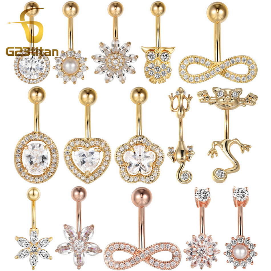 G23titan Wholesale Belly Piercing Bars 16G 10mm 316L Stainless Steel Navel Ring Barbell Crystal Body Jewelry umbilicus piecing