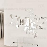 Heißer verkauf DIY frühling natur hibiskus-blume spiegel dekorative wandaufkleber home decor 3d wanddekoration wohnzimmer aufkleber wandbild R076