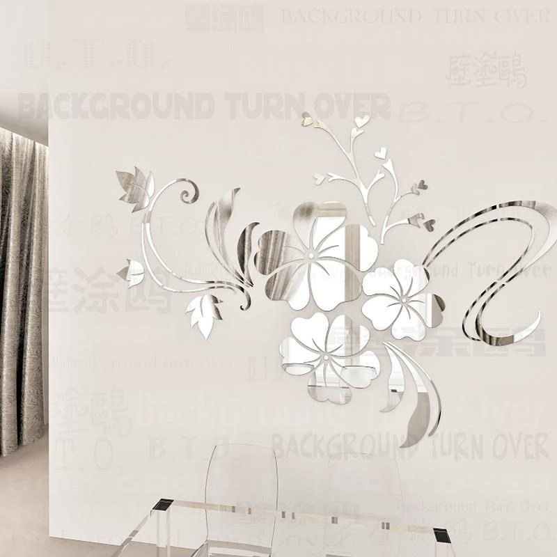 Venta caliente DIY primavera naturaleza hibisco flor espejo decorativo etiqueta de la pared decoración para el hogar 3d decoración de la pared tatuajes de habitación mural R076