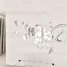 Flower mirror decorative wall sticker