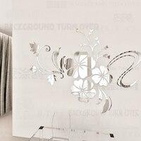Hot verkoop DIY lente natuur hibiscus bloem spiegel decoratieve muursticker interieur 3d wanddecoratie kamer decals muurschildering R076