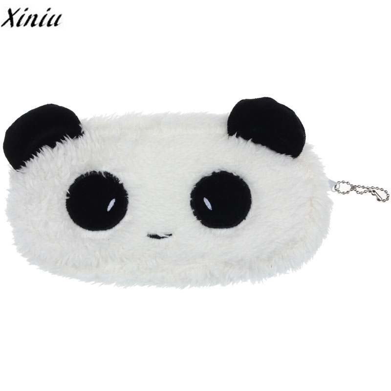 все цены на  Xiniu Brand Coin Purse Plush Panda Pen Pencil bolsa feminina Case High Quality Cosmetic Makeup Bag Wallet Gift  онлайн