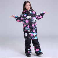 Free freight Gsou Snow Children Ski Suit Girls Ski Suit Waterproof and Keep Warm Breathable Waterproof Children Ski Suit 2019
