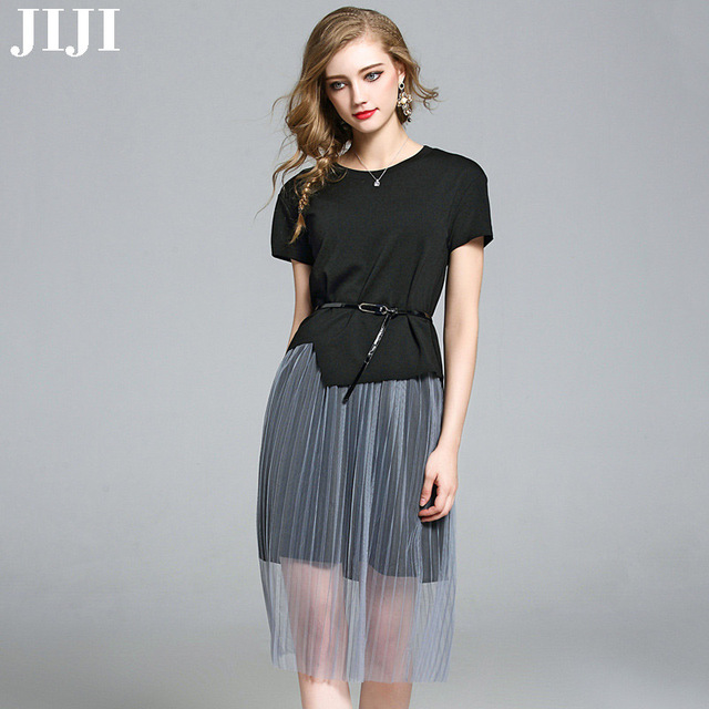 New Summer Women Dress Suits 2 Pieces Cotton Black Cut Out Tee Hight