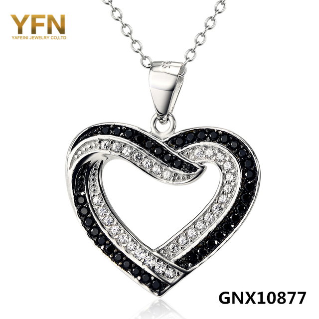 GNX10877 Genuíno 925 Coração de Prata Colar de Moda Jóias Preto Branco Cubic Zirconia Colar & Pendant Para Mulheres