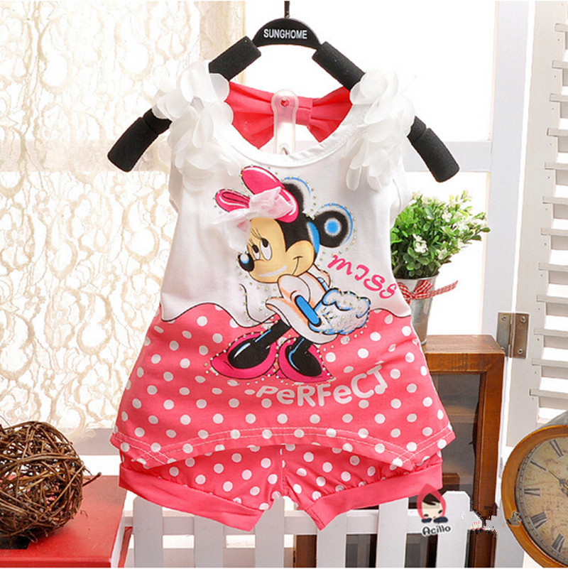 2017 Summer New Girls Clothing Sets Minnie Baby Children Fashion Cotton Vest T-shirt and Shorts suits Kids Clothes Sets Costume european and american style brand children s clothing children summer cotton short sleeved t shirt baby girls t shirt 50158