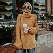 Autumn Sweater Women 2018 Vintage Turtleneck Knitted Pullover and Sweater Long Sleeve Women Pullovers Loose Jumpers Plus Size