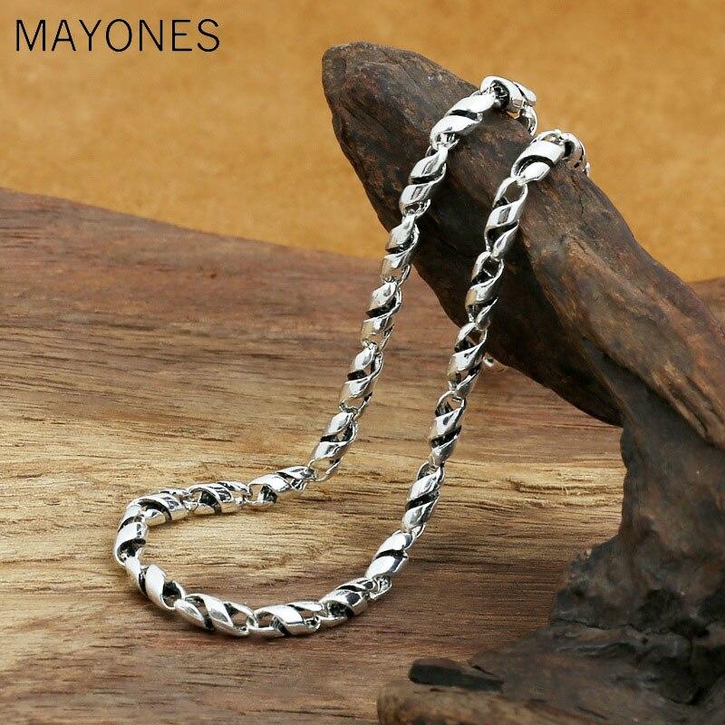 5mm largeur épais nom personnalisé collier 100% 925 en argent Sterling mode bijoux hommes femmes bambou corde chaîne collier pendentif 2019