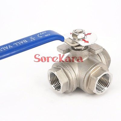 DN25 1 BSP Female Thread 304 Stainless Steel 3 Way L Port Ball Valve oil water air 229 PSI 1 2 bsp female 304 stainless steel flow control shut off needle valve 915 psi water gas oil
