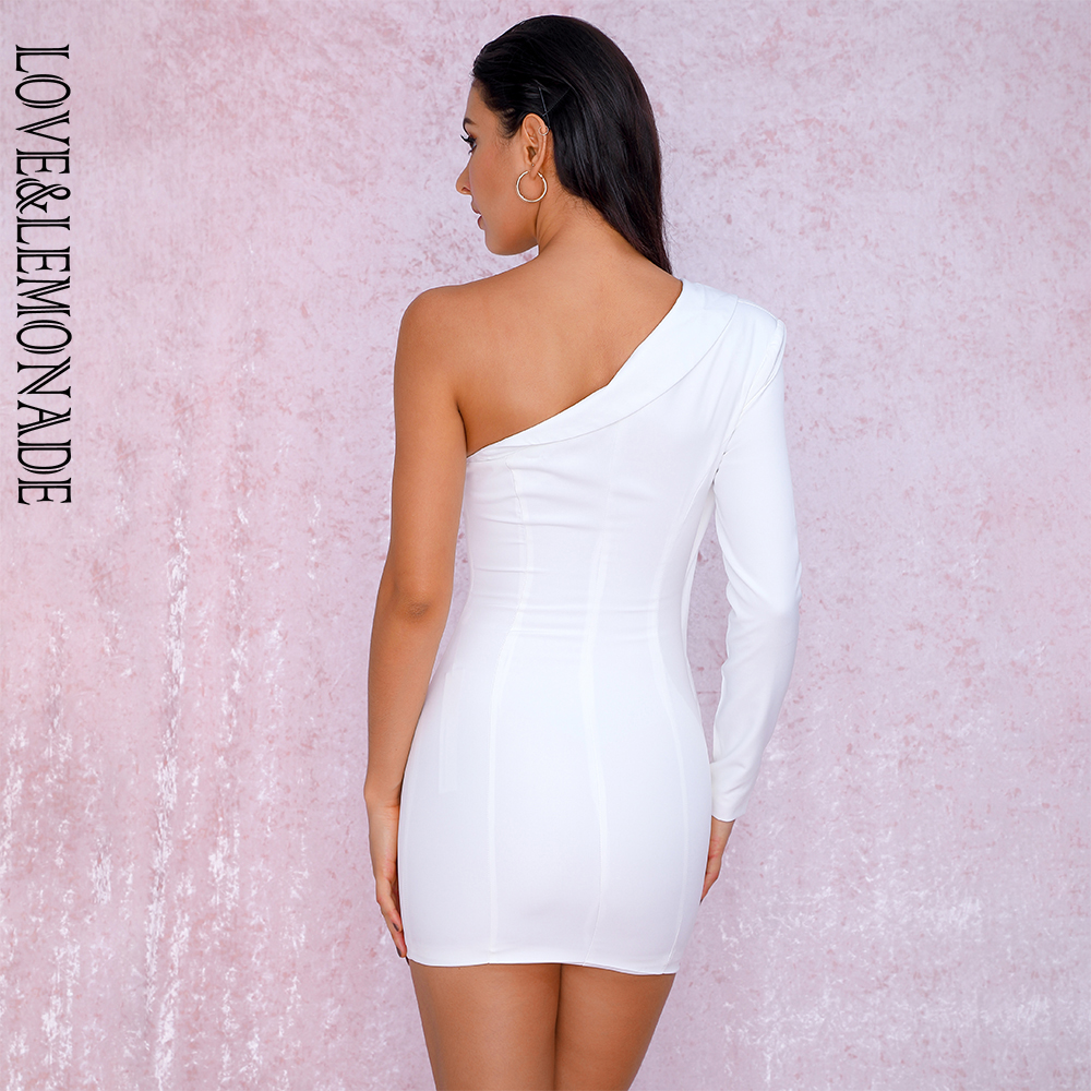 LOVE&LEMONADE Sexy White Irregular Collar Micro-Elastic Fabric Long-Sleeved Party Dress LM81787 Autumn/Winter