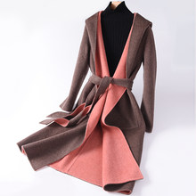 BELIARST 18 Autumn and Winter New Women's Double-Sided Long Wool Coat Hooded Belt Jacket Cardigan Warm Wild Slim waist Overcoat(China)