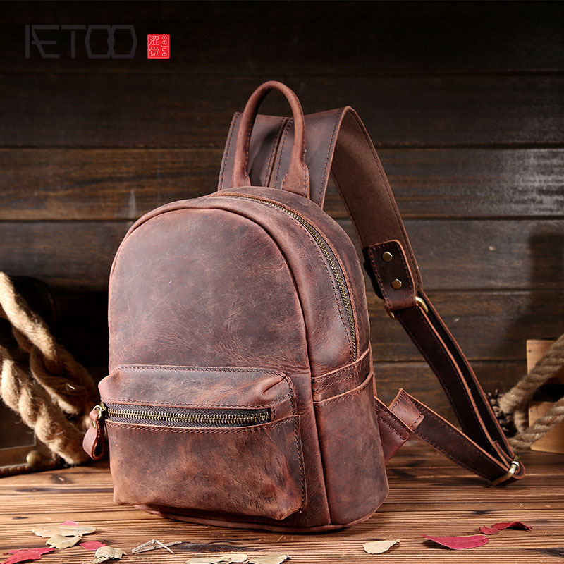 AETOOMad horse skin ladies shoulder bag round through the first layer of cowhide retro shoulder bag leather personality backpack qiaobao 2018 new korean version of the first layer of women s leather packet messenger bag female shoulder diagonal cross bag