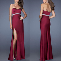 DoreenBow Polyester Sexy Dress Summer Style Strapless Sleeveless Split The Fork Red Wine Blue Evening Party