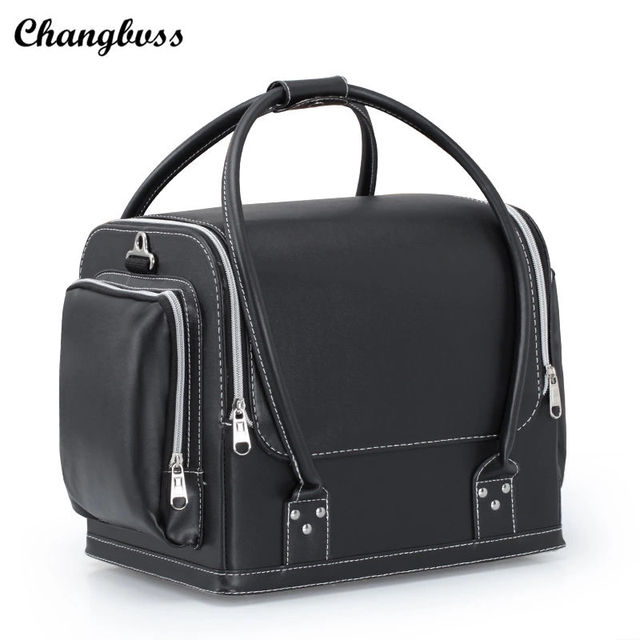 solid color pu leather large cosmetic bag women portable. Black Bedroom Furniture Sets. Home Design Ideas
