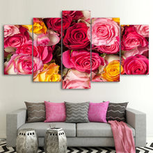 Canvas Wall Art Pictures For Living Room Decor 5 Panels Pink Flowers Posters HD Prints Beautiful Buds Roses Pictures Frameworks(China)