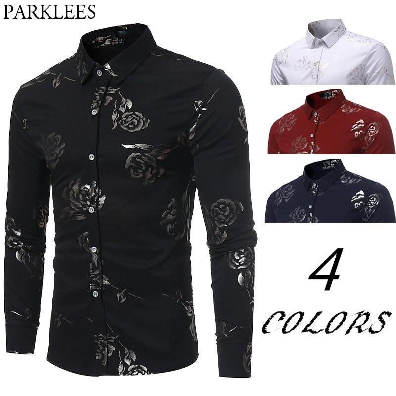 New Floral Print Shirt Men Slim Fit Chemise Homme 2017 Luxury Brand Rose Flower Print Mens Dress Shirts Camisa Social Masculina